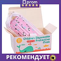 Маска детская медицинская защитная 3х слойная с фильтром, маска дитяча тришарова 50шт у коробці