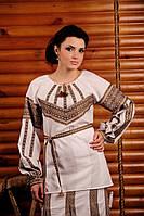 Женская вышитая блуза из льна, размер 52