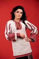 Женская вышитая блуза белая, размер 52