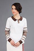 Женская вышитая блуза с воротником, размер 52