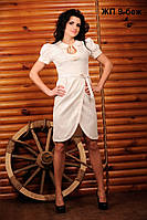 Однотонное женское платье с вышивкой, размер 52