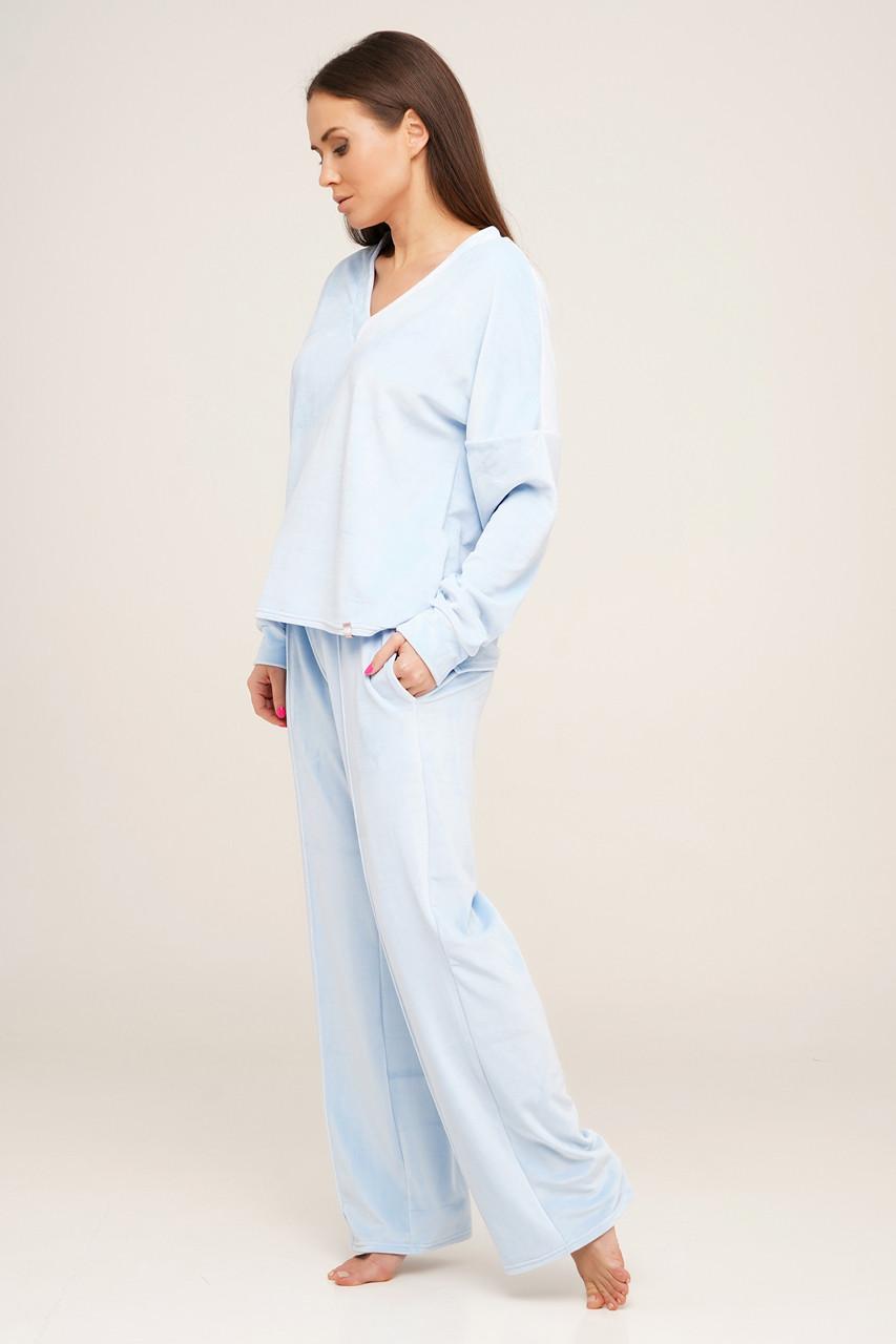 Голубой плюшевый костюм для дома