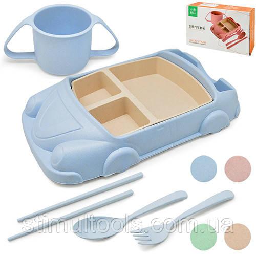 """Посуд дитяча з пшеничного лушпиння """"Літак"""" 7 предметів"""