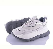Женские кроссовки белого цвета на платформе пенка, сетка, с серебряными вставками