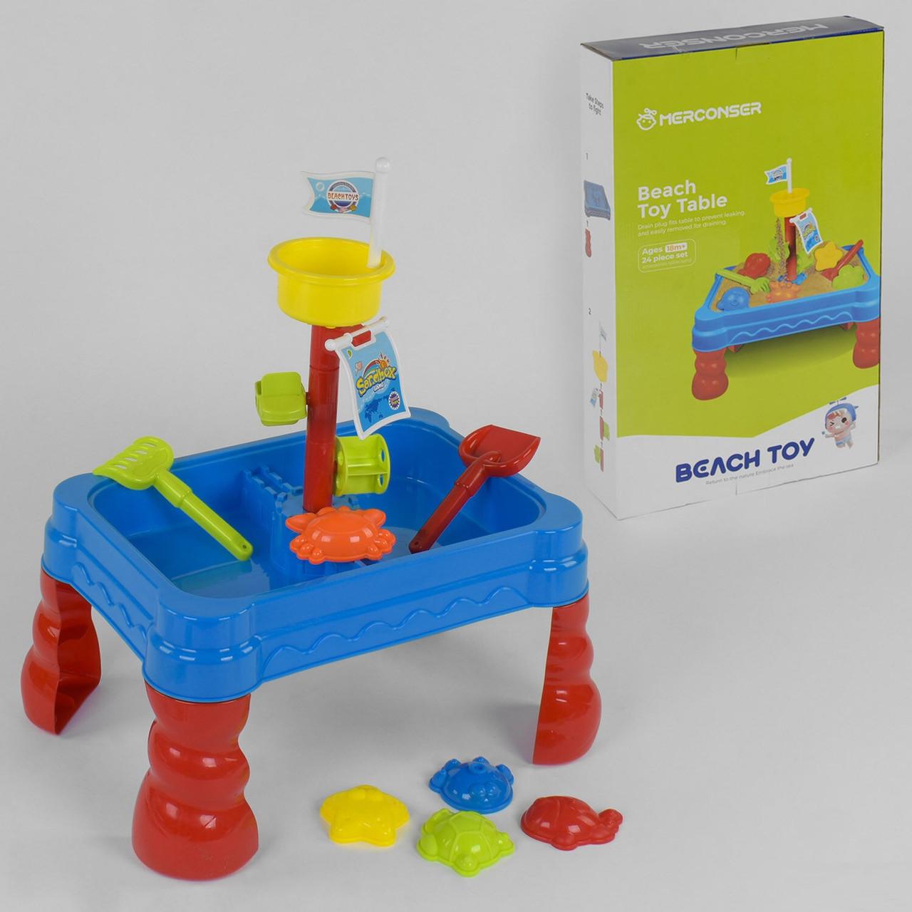 Дитячий ігровий переносний столик для гри з піском і водою 107 та аксесуарами