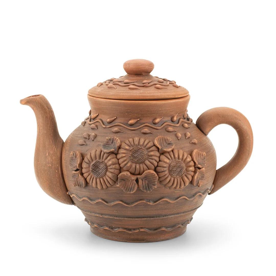 Чайник заварочный большой 1,7 л лепка Подсолнух