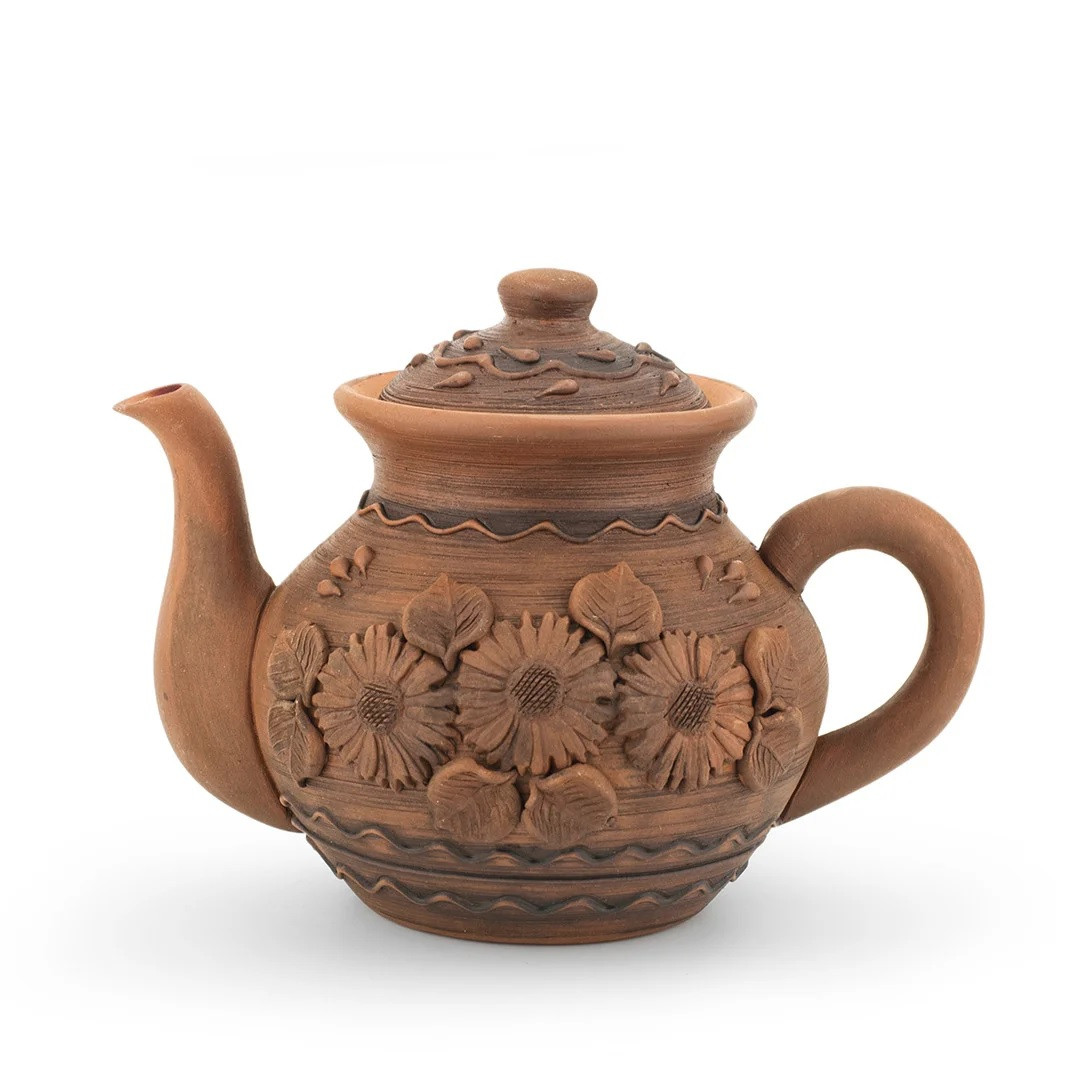 Чайник заварочный средний 1л лепка Подсолнух