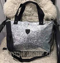 Жіноча дорожня сумка штучна шкіра срібляста з блискітками