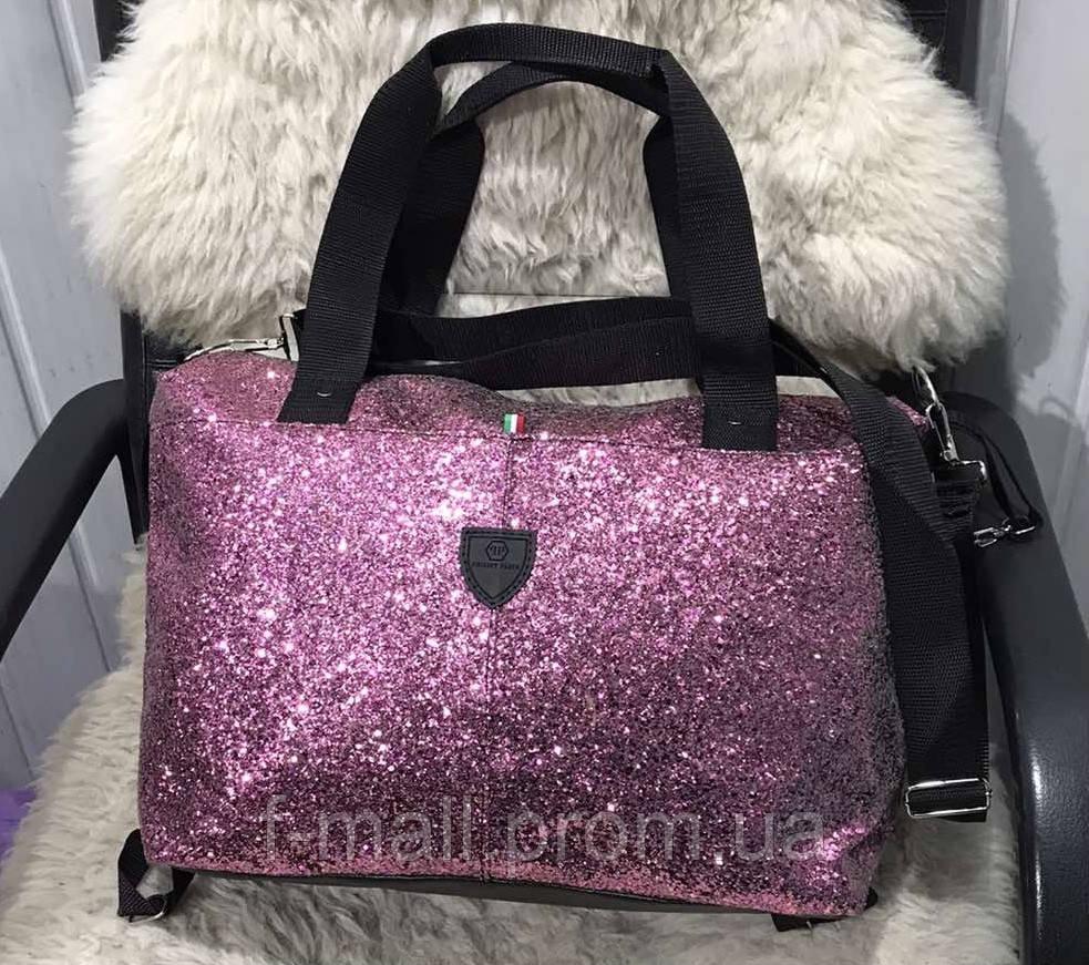 Женская дорожная сумка искусственная кожа розовая с блестками
