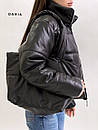 Короткая кожаная куртка на молнии объемная с воротником стойкой (р. 42-46) 55kr580, фото 5