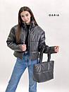 Короткая кожаная куртка на молнии объемная с воротником стойкой (р. 42-46) 55kr580, фото 6