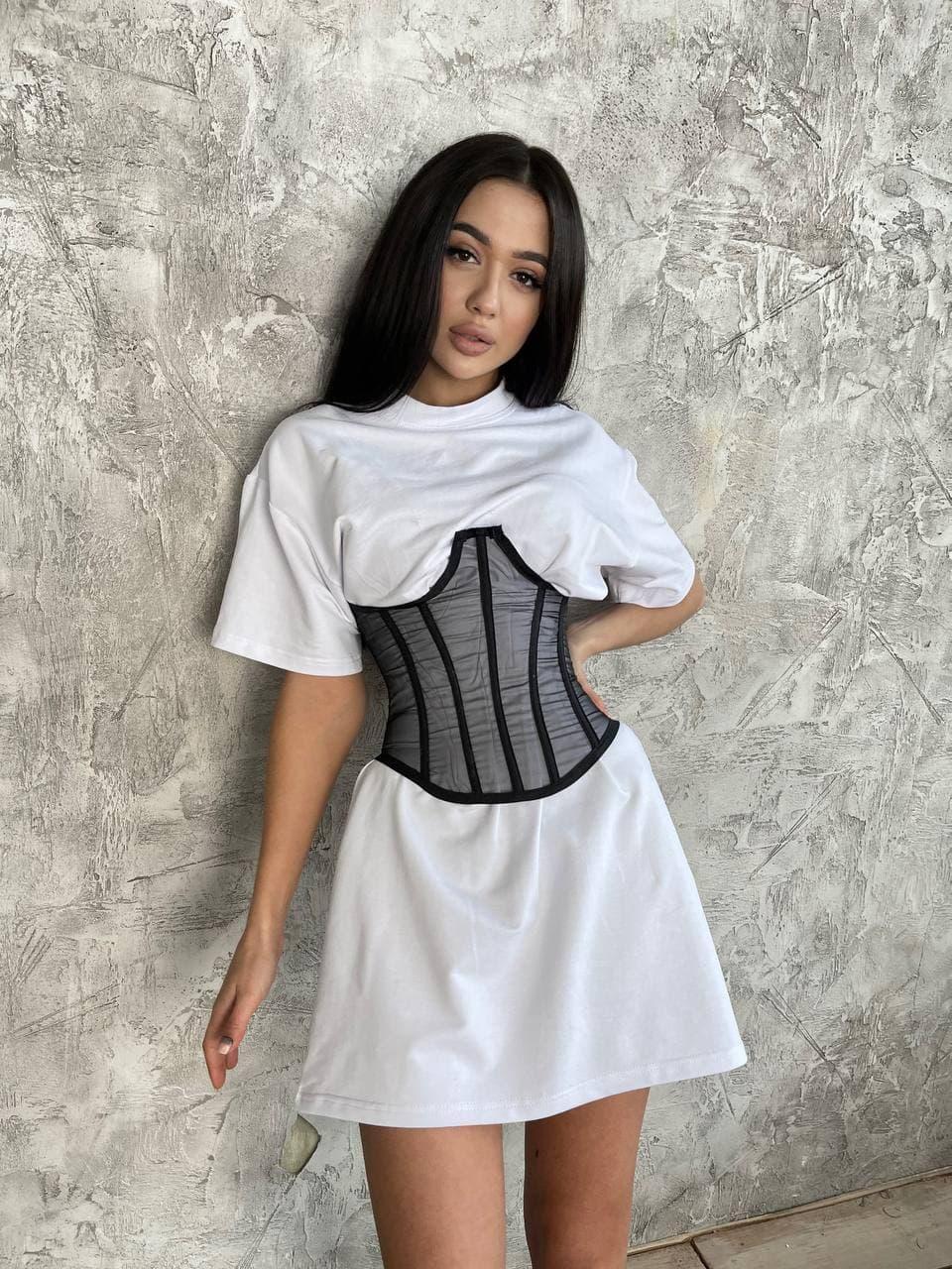 Сукня футболка оверсайз в комплекті з корсетом (р. 42-46) 71032067