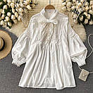 Біле плаття туніка з широкими рукавами і мереживом на грудях (р. 42-46) 68py2069, фото 2