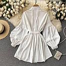 Біле плаття туніка з широкими рукавами і мереживом на грудях (р. 42-46) 68py2069, фото 3