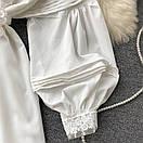 Біле плаття туніка з широкими рукавами і мереживом на грудях (р. 42-46) 68py2069, фото 4
