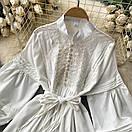 Біле плаття туніка з широкими рукавами і мереживом на грудях (р. 42-46) 68py2069, фото 7