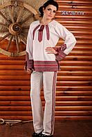 Брючный женский костюм с вышивкой, размер 54