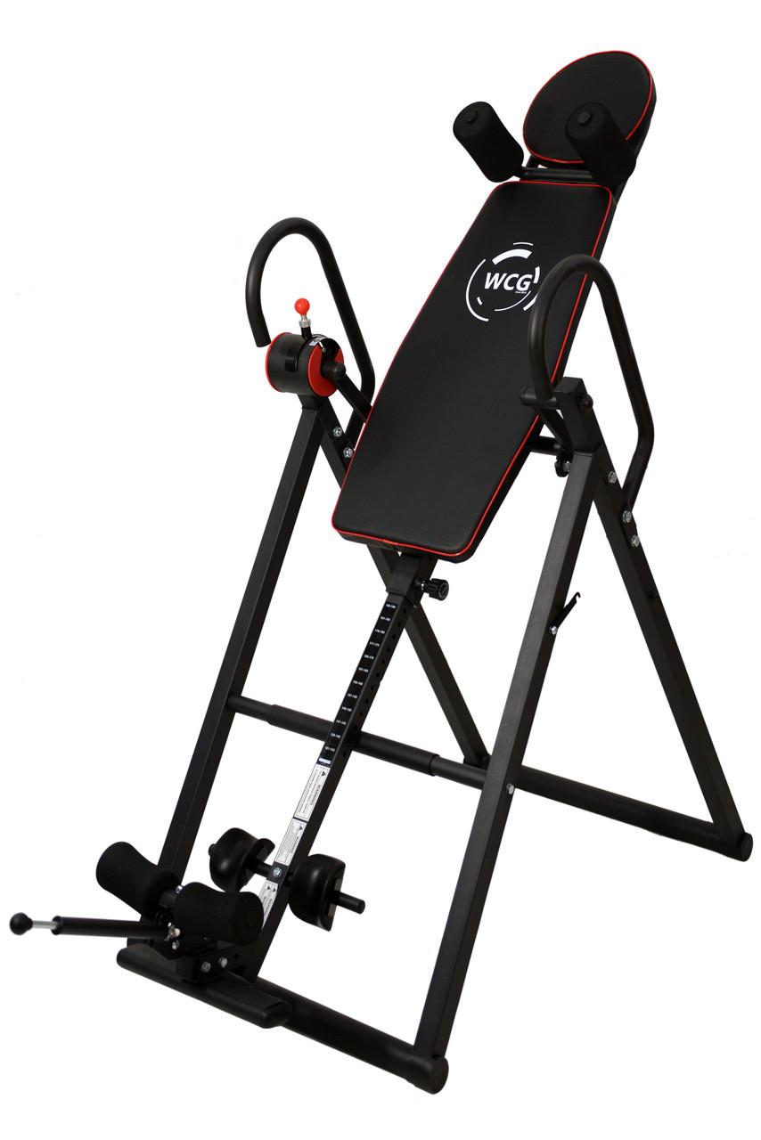 Инверсионный стол WCG-108 тренажер для спины и позвоночника (Інверсійний стіл механический складной до 120 кг)