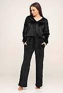 Черный велюровый  костюм кофта и штаны, фото 2