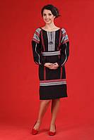 Черное женское платье с вышивкой, размер 56