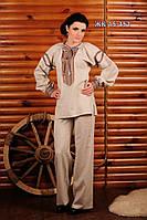 Женский брючный костюм с вышивкой, размер 56