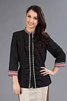 Женская черная вышиванка, размер 56