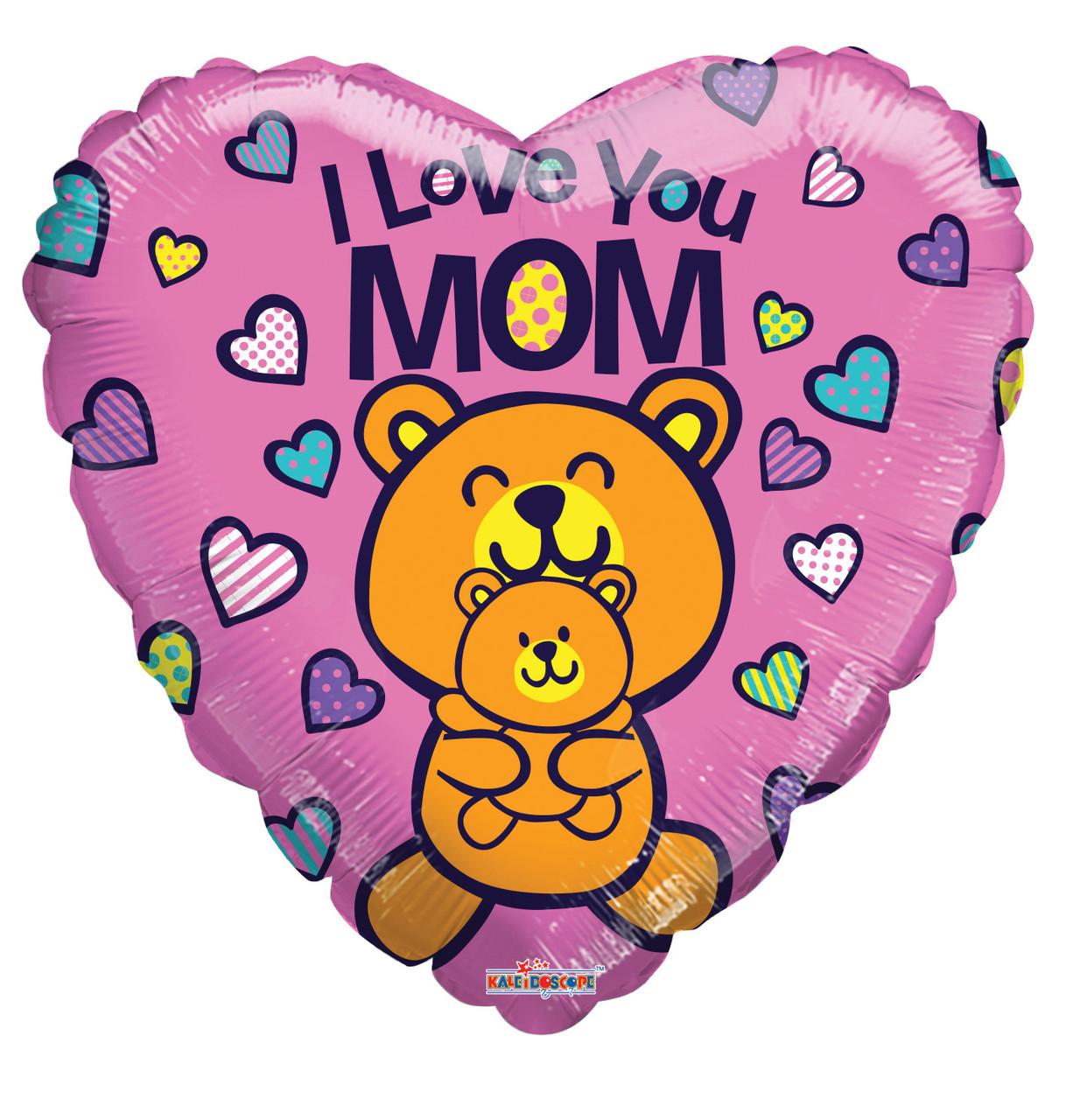 """До 18"""" Love You Mom Bears Balloon. Фольгований куля серце З Днем матері"""