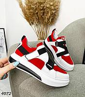 Женские кроссовки из натурального замша и кожи 36-41 р красный, фото 1