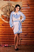 Стильный вышитый костюм с юбкой, размер 56