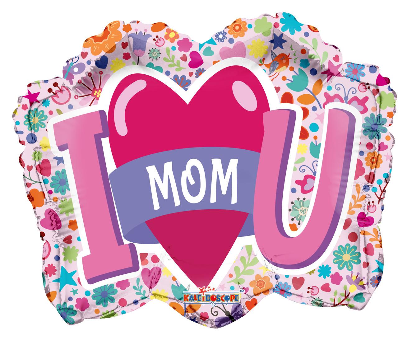 """К 18"""" I Love You Mom Shape Foil Balloon. Шар воздушный фольгированный Я люблю тебя, мама"""