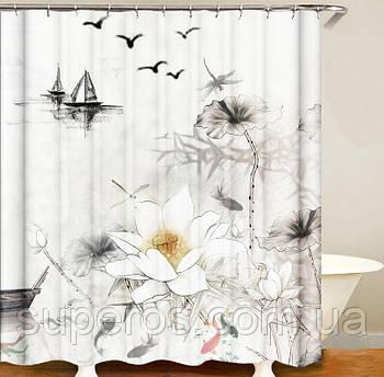 Тканинна шторка для ванної душа 180х200 см серія Japan, дизайн №1