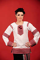 Женская удлиненная блуза с вышивкой, размер 58