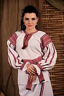 Женская вышиванка с поясом, размер 58