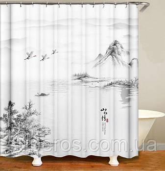 Тканинна шторка для ванної душа 180х200 см серія Japan, дизайн №2
