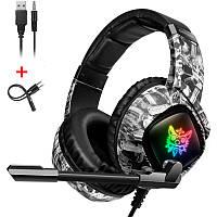 Игровые наушники с микрофоном и LED RGB подсветкой ONIKUMA K19 White геймерские ігрові навушники