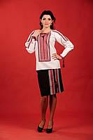 Стильный женский костюм с украинской вышивкой, размер 58