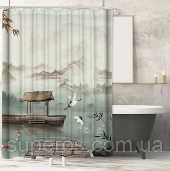 Тканинна шторка для ванної душа 180х200 см серія Japan, дизайн №3