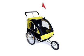 Люлька для перевезення дітей на велосипеді 2 os + JOGGER 2w1 amortyzowana żółta Марка Європи