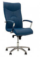 Кожаное кресло руководителя  Felicia steel chrome LE