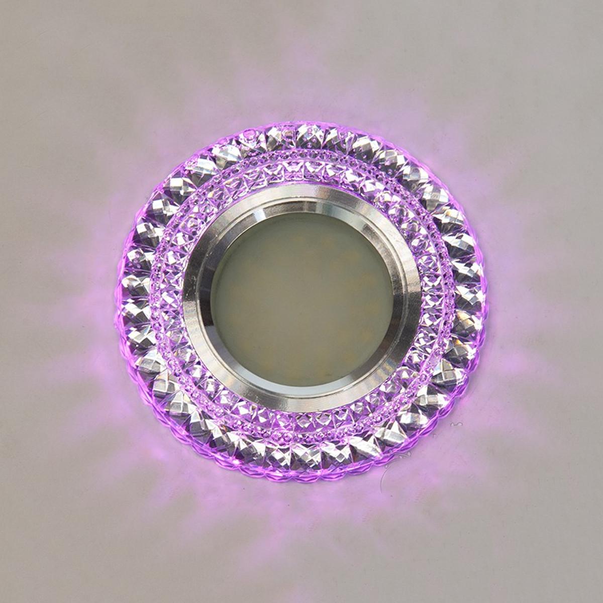 Точечный светильник c двойной подсветкой (розовый + холодный) 3 Вт под лампочку MR 16 СветМира D-8126WH+PK