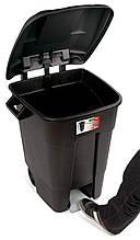 Бак для мусора EcoTayg 100л с педалью ,с колесами,60*56,8*77см. с крышкой и ручками, (441073)