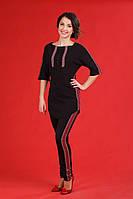 Черный женский костюм с вышивкой, размер 58