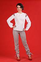 Брючный женский костюм с вышивкой, размер 58