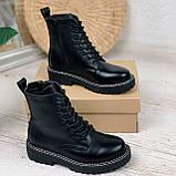 Женские ботинки ДЕМИ черные на шнуровке эко кожа, фото 2