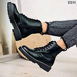 Женские ботинки ДЕМИ черные на шнуровке эко кожа, фото 6