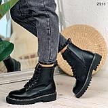 Женские ботинки ДЕМИ черные на шнуровке эко кожа, фото 7