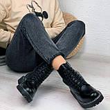 Женские ботинки ДЕМИ черные на шнуровке эко кожа, фото 8