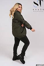 Куртка стильная с капюшоном утепленная демисезонная размеры 50-60, фото 3