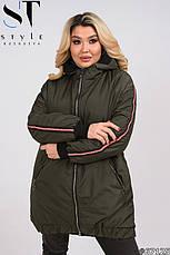Куртка стильная с капюшоном утепленная демисезонная размеры 50-60, фото 2
