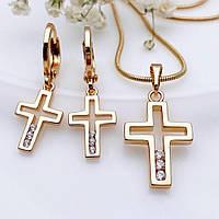 Комплект серьги и крестик с цепочкой 1мм 45см Xuping позолота 18К медицинское золото 7715